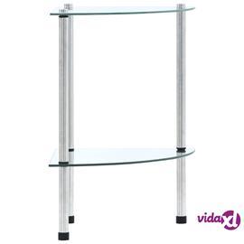 vidaXL 2-kerroksinen hylly läpinäkyvä 30x30x47 cm karkaistu lasi