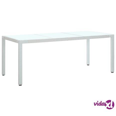 vidaXL Puutarhapöytä valkoinen 190x90x75 cm polyrottinki