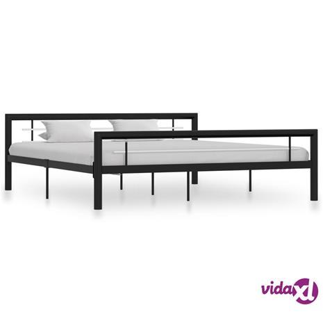 vidaXL Sängynrunko musta ja valkoinen metalli 180x200 cm