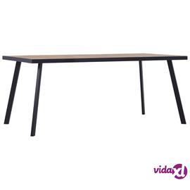vidaXL Ruokapöytä vaalea puu ja musta 200x100x75 cm MDF