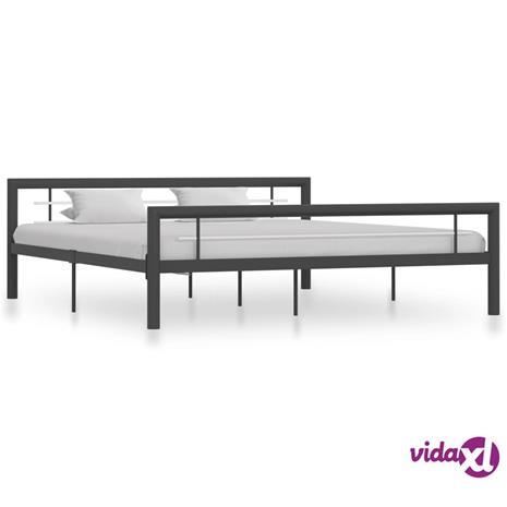 vidaXL Sängynrunko harmaa ja valkoinen metalli 180x200 cm