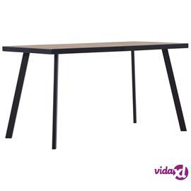 vidaXL Ruokapöytä vaalea puu ja musta 140x70x75 cm MDF