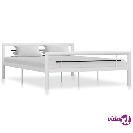 vidaXL Sängynrunko valkoinen ja musta metalli 160x200 cm