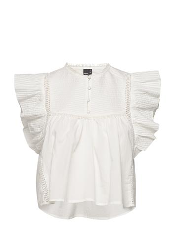 Gina Tricot Ava Blouse Blouses Short-sleeved Valkoinen Gina Tricot OFFWHITE
