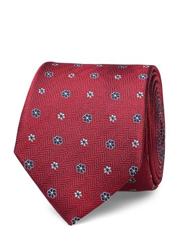 Tommy Hilfiger Tailored Herringb Design Silk 7cm Tie Solmio Kravatti Punainen Tommy Hilfiger Tailored RED/NAVY