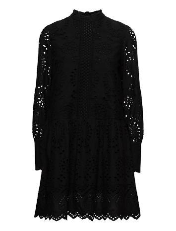 Vero Moda Vmperfect Emb L/S Short Dress Sb2 Polvipituinen Mekko Musta Vero Moda BLACK