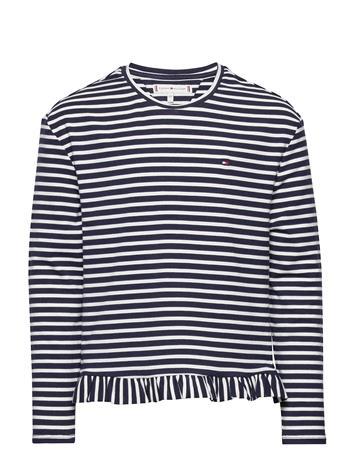 Tommy Hilfiger Ruffle Knit Top L/S T-shirts Long-sleeved T-shirts Sininen Tommy Hilfiger TWILIGHT NAVY