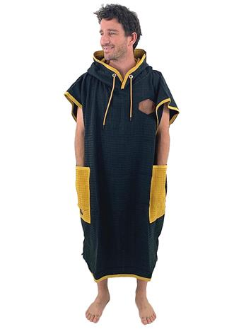 All-In Light Line Classic Surf Poncho black waffle / ocre waffle