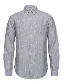 Knowledge Cotton Apparel Larch Ls Striped Linen Shirt - Vega Paita Rento Casual Sininen Knowledge Cotton Apparel TOTAL ECLIPSE