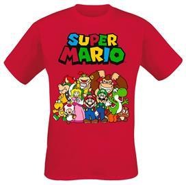 Super Mario - Group Shot - T-paita - Miehet - Punainen