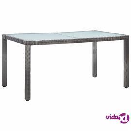 vidaXL Puutarhapöytä harmaa 150x90x75 cm polyrottinki