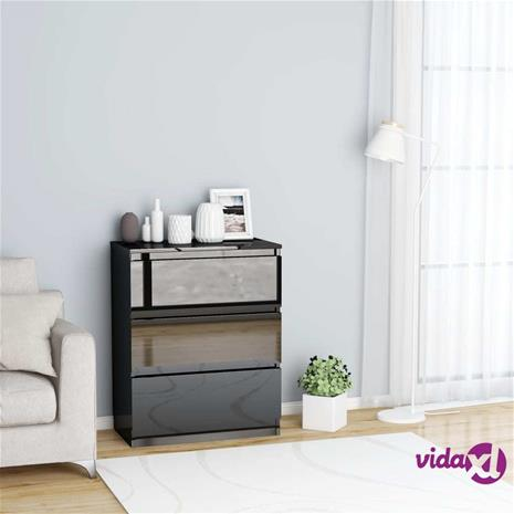 vidaXL Senkki korkeakiilto musta 60x35x76 cm lastulevy