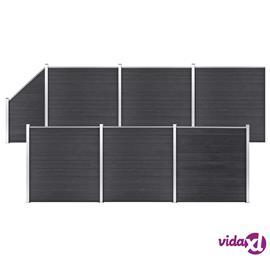 vidaXL WPC-aitasarja 6 neliöpaneelia + 1 vinopaneeli 1138x186cm harmaa