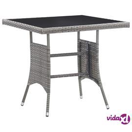 vidaXL Puutarhapöytä antrasiitti 80x80x74 cm polyrottinki