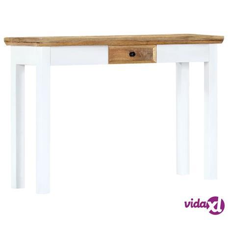 vidaXL Konsolipöytä valkoinen ja ruskea 110x35x75 cm täysi mangopuu