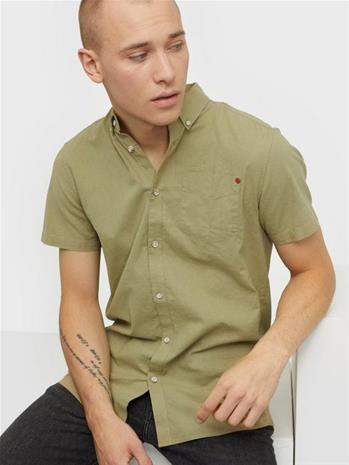 Solid Shirt - Bill SS BD Linen Kauluspaidat Hunter Green