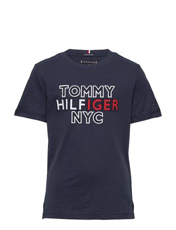 Tommy Hilfiger Th Nyc Graphic Tee S/S T-shirts Short-sleeved Sininen Tommy Hilfiger TWILIGHT NAVY