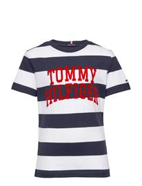 Tommy Hilfiger Rugby Stripe Graphic Tee S/S T-shirts Short-sleeved Sininen Tommy Hilfiger BLUE STRIPE 01/TWILIGHT NAVY