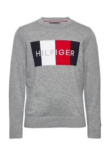 Tommy Hilfiger Th Logo Sweater Villapaita Harmaa Tommy Hilfiger MID GREY HTR