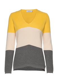 Calvin Klein Ls Color Block Sweater Neulepaita Keltainen Calvin Klein WHITE S / MID GREY HTR / YELLO