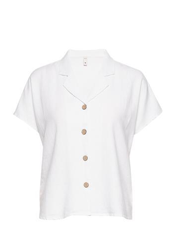 Pulz Jeans Pzbianca Shirt Lyhythihainen Paita Valkoinen Pulz Jeans BRIGHT WHITE
