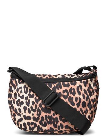 Ganni Shoulder Bag Bags Shoppers Fashion Shoppers Musta Ganni LEOPARD