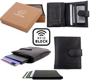 Äkta Läder Plånbok o Smart Korthållare . 100% RFID Skydd