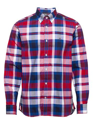 Tommy Hilfiger Flex Bright Midscale Check Shirt Paita Rento Casual Punainen Tommy Hilfiger PRIMARY RED / PHTHALO BLUE / M