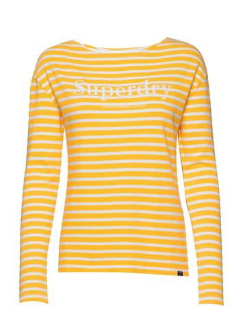 Superdry Blair Stripe Top T-shirts & Tops Long-sleeved Keltainen Superdry GOLDEN ROD