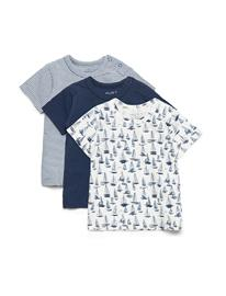Hust & Claire Asmo - T-Shirt S/S 3pack T-shirts Short-sleeved Sininen Hust & Claire BLUE MOON