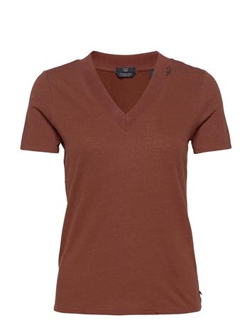 Scotch & Soda Basic V-Neck In Linen And Recycled Polyester Blend T-shirts & Tops Short-sleeved Ruskea Scotch & Soda ISLAND BROWN