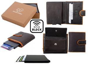 Äkta Läder Plånbok o Smart Korthållare .100% RFID Skydd. BRUN+ORANGE