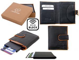 Äkta Läder Plånbok o Smart Korthållare .100% RFID Skydd.SVART+ORANGE