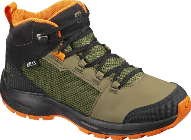 Salomon OUTward CSWP Shoes Kids, burnt olive/black/exuberance