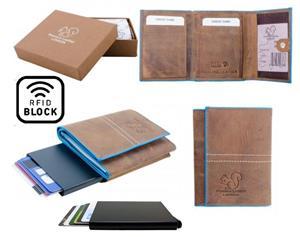 Äkta Läder Plånbok o Smart Korthållare .100% RFID Skydd.Solbränna+Blå