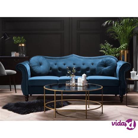 Beliani 3-istuttava sohva samettinen sininen SKIEN