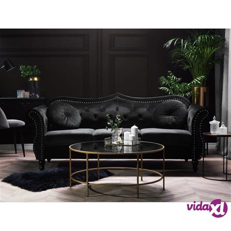 Beliani 3-istuttava sohva samettinen musta SKIEN