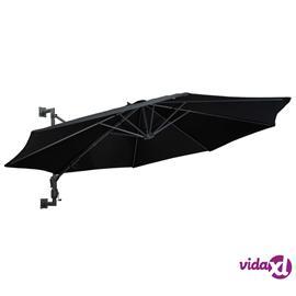 vidaXL Seinäkiinnitteinen aurinkovarjo metallitolppa 300 cm musta