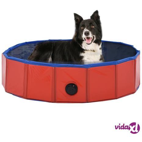 vidaXL Kokoontaitettava koiran uima-allas punainen 80x20 cm PVC
