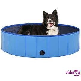 vidaXL Kokoontaitettava koiran uima-allas sininen 120x30 cm PVC