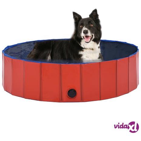 vidaXL Kokoontaitettava koiran uima-allas punainen 120x30 cm PVC