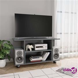 vidaXL TV-taso rullapyörillä korkeakiilto harmaa 80x40x40 cm lastulevy