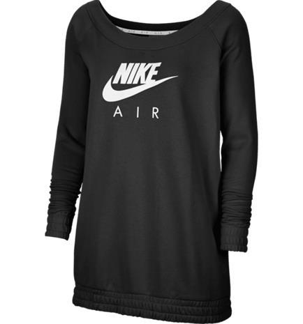 Nike W NSW AIR CREW OS FLC BLACK/WHITE