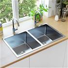vidaXL Käsintehty keittiön tiskiallas siivilällä ruostumaton teräs