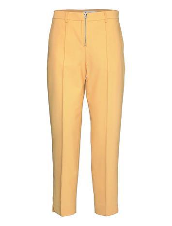 Calvin Klein Zip Up Cigarette Pant Suoralahkeiset Housut Keltainen Calvin Klein MUTED YELLOW