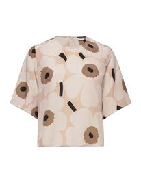 Marimekko Jokos Pieni Unikko Ii Shirt Blouses Short-sleeved Beige Marimekko BEIGE, BROWN, BLACK