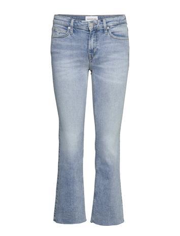 Calvin Klein Jeans Mid Rise Crop Flare Suorat Farkut Sininen Calvin Klein Jeans DA069 LIGHT BLUE DSTR CUT HEM