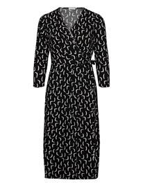 Gerry Weber Dress Knitted Fabric Polvipituinen Mekko Musta Gerry Weber BLACK/ECRU/WHITE PRINT, Naisten hameet ja mekot