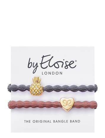 ByEloise Pineapple Storm Grey And Gold Heart Champagne Pink Hiustarvikkeet Harmaa ByEloise GREY/PINK