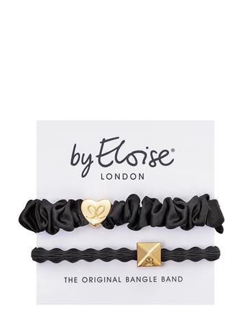 ByEloise Gold Heart Silk Scrunchie Black And Gold Pyramid Stud Black Hiustarvikkeet Musta ByEloise BLACK